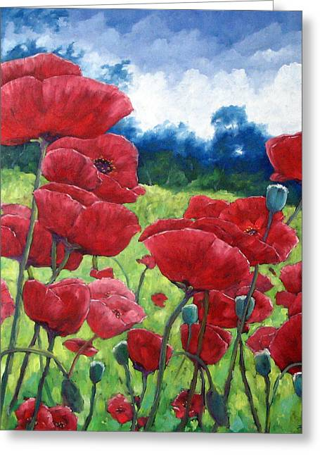 Flowers Direct Greeting Cards - Field Of Poppies Greeting Card by Richard T Pranke