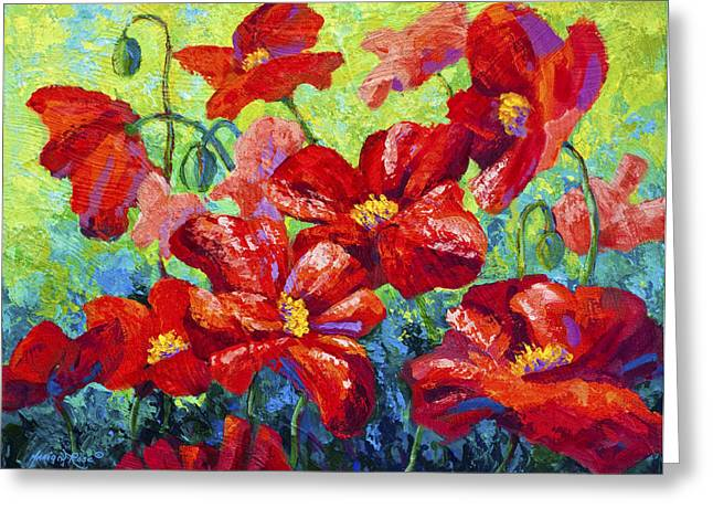 Fall Vineyard Greeting Cards - Field Of Red Poppies II Greeting Card by Marion Rose