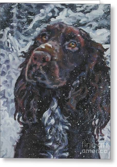 Dogs In Snow. Greeting Cards - Field Spaniel In Snow Greeting Card by Lee Ann Shepard