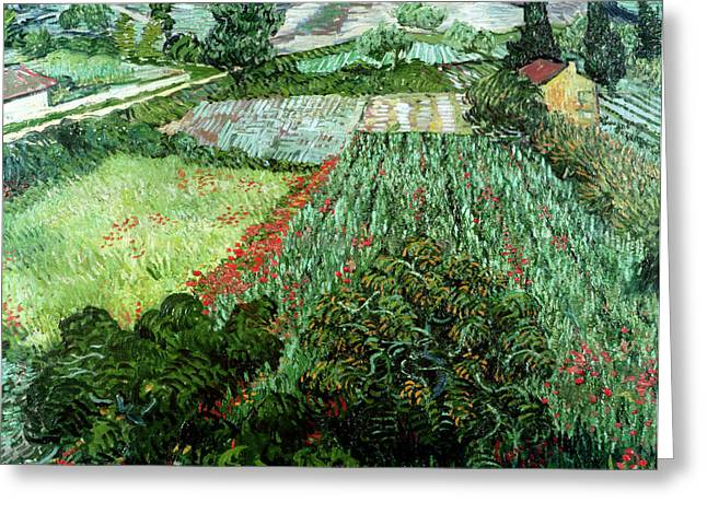Fields Greeting Cards - Field with Poppies Greeting Card by Vincent Van Gogh