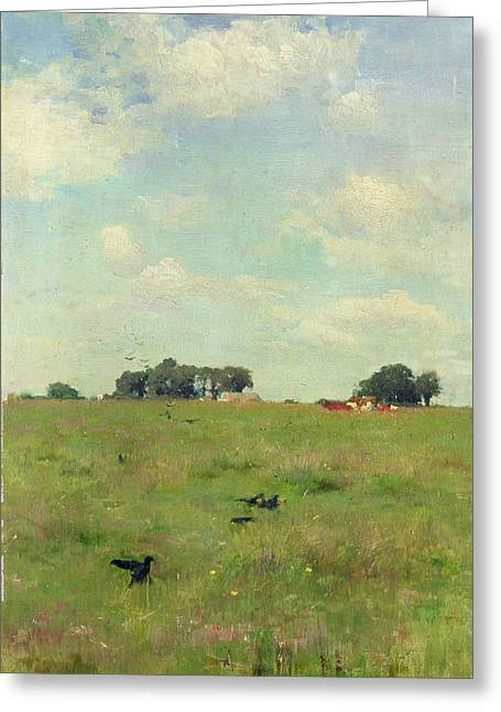 Bird On Tree Greeting Cards - Field with Trees and Sky Greeting Card by Walter Frederick Osborne