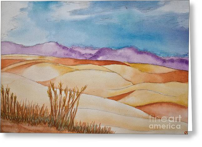 Purple Mountains Drawing Greeting Cards - Fields Greeting Card by Cassandra Ronning