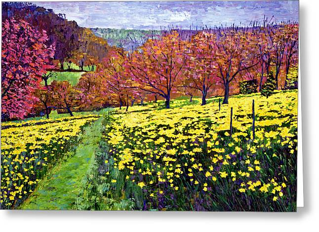 Most Popular Paintings Greeting Cards - Fields of Golden Daffodils Greeting Card by David Lloyd Glover