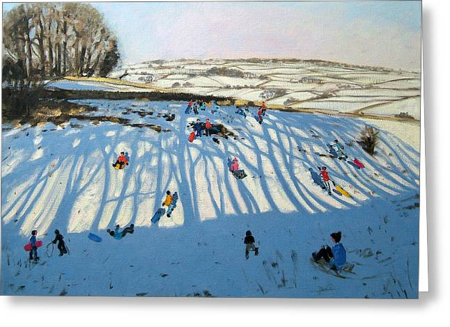 Toboggan Greeting Cards - Fields of Shadows Greeting Card by Andrew Macara