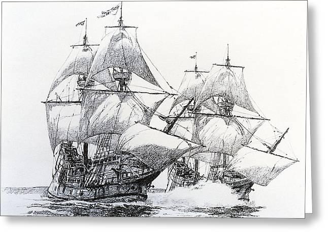 Galleons Drawings Greeting Cards - Fierce Broadsides Greeting Card by Rex Stewart