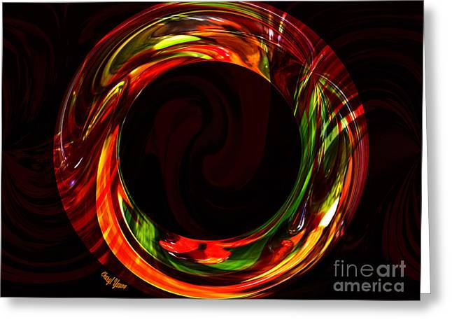 Wall Art For Your Home Or Office Greeting Cards - Fiery Circle Greeting Card by Cheryl Young