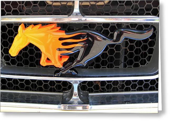Lloyd Alexander Greeting Cards - Fiery Mustang Greeting Card by Lloyd Alexander