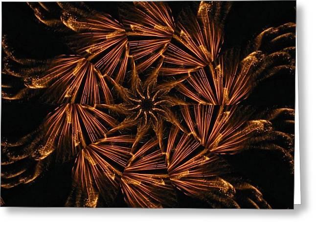 Fiery Pinwheel Greeting Card by Rhonda Barrett