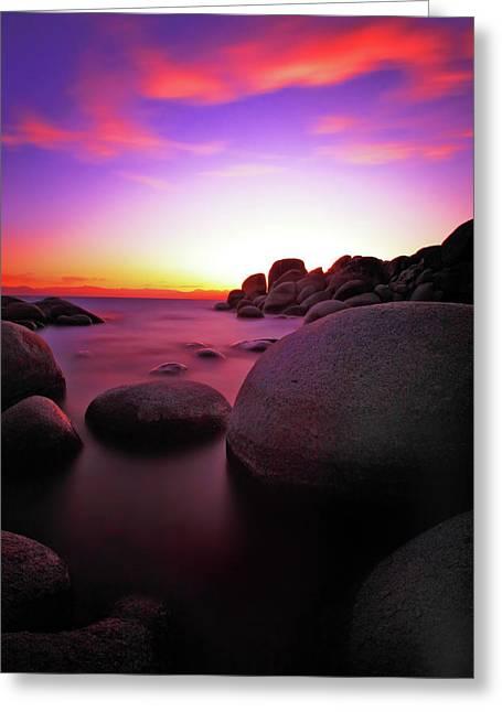 Sand Harbor Greeting Cards - Fiery Sky Greeting Card by Rick Berk