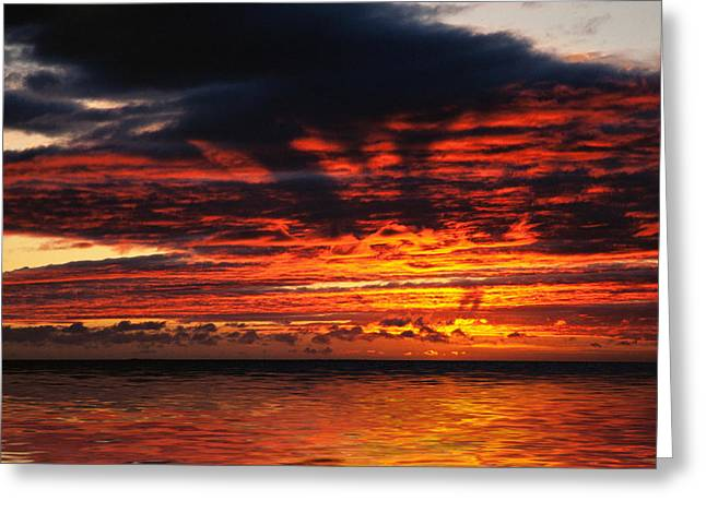 Lightscapes Greeting Cards - Fiery Sunset on the Ocean Greeting Card by Hakon Soreide