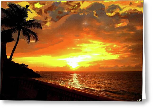 Rincon Beach Greeting Cards - Fiery Sunset Greeting Card by Yiries Saad