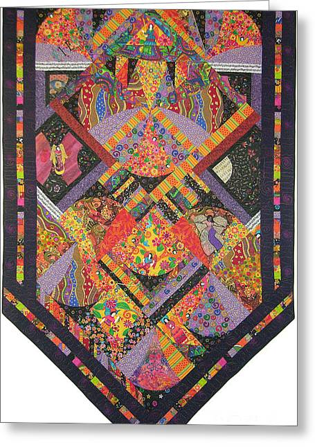 Angel Tapestries - Textiles Greeting Cards - Fiesta de los Angeles Greeting Card by Salli McQuaid