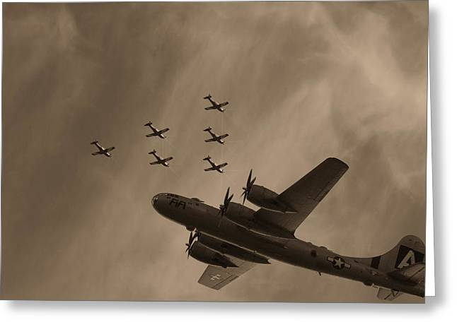 B29 Bomber Greeting Cards - Fifi has Company Greeting Card by Douglas Barnard