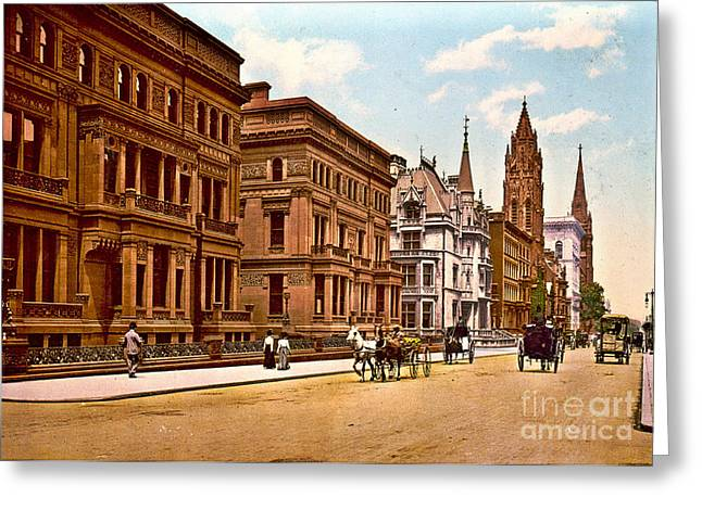Fifth Avenue And 51st Street New York City 1900 Greeting Card by Padre Art