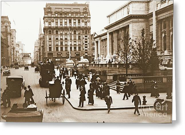 Horse And Buggy Greeting Cards - Fifth Avenue and New York City Public Library 1908 Greeting Card by Padre Art