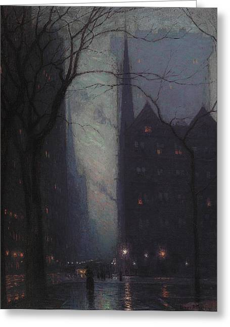 Umbrella Greeting Cards - Fifth Avenue at Twilight Greeting Card by Lowell Birge Harrison