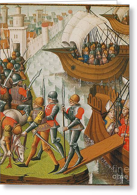 Holy War Greeting Cards - Fifth Crusade Siege Of Damietta 1218 Greeting Card by Photo Researchers