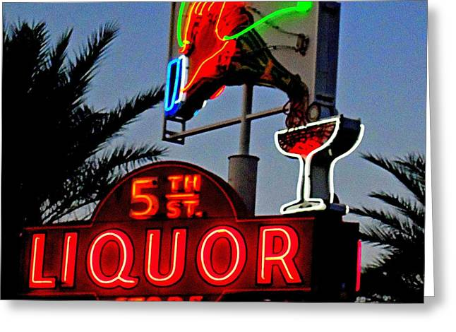 Glitter Gulch Greeting Cards - Fifth Street Liquor Greeting Card by Randall Weidner