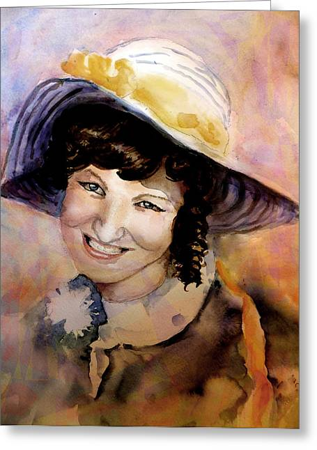 Posh Paintings Greeting Cards - Fifties Girl Greeting Card by Steven Ponsford