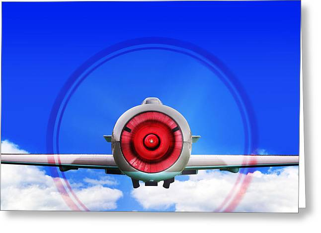 Clouds In Motion Greeting Cards - Fighter plane Greeting Card by Richard Thomas
