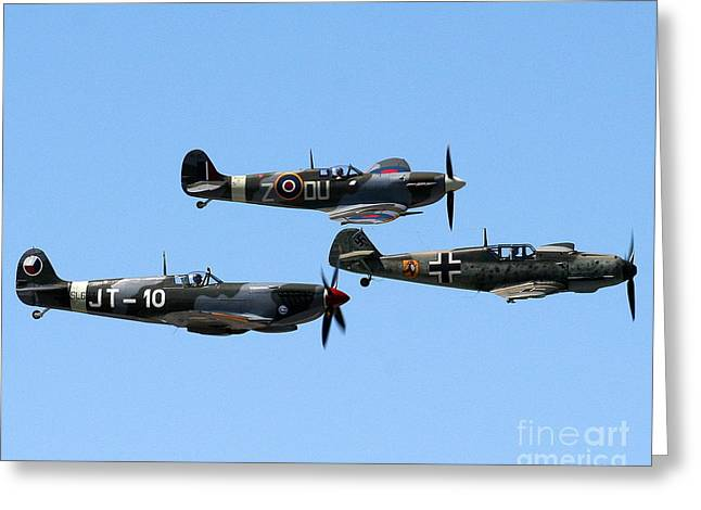 Luftwaffe Fighter Aces Greeting Cards - Fighters - Battle of Britian Flight Greeting Card by Matthew Wilson