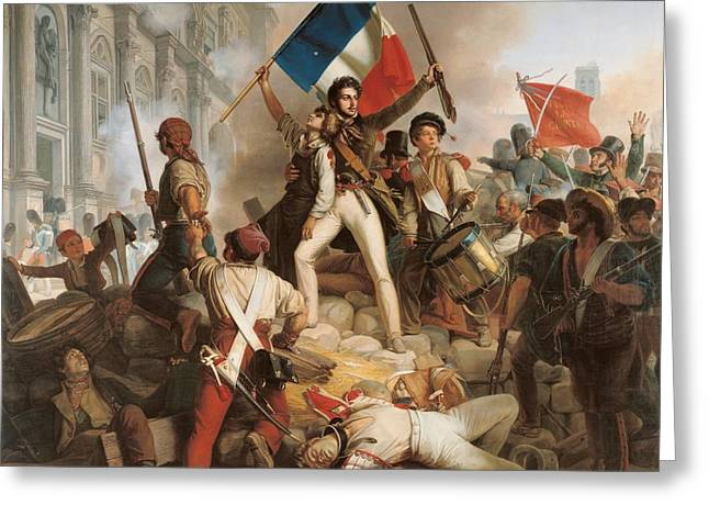 Wounded Greeting Cards - Fighting at the Hotel de Ville Greeting Card by Jean Victor Schnetz