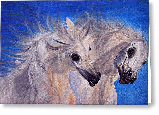 Horse Art Pastels Greeting Cards - Fighting Stallions Greeting Card by El Luwanaya Arabians