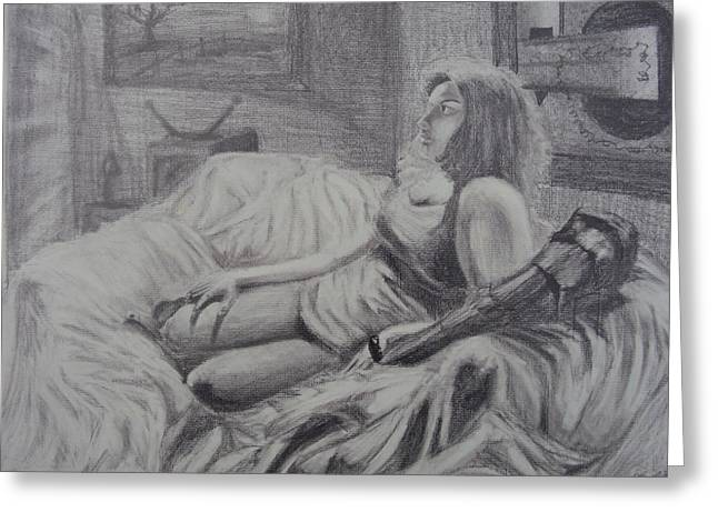 Clothed Figure Drawings Greeting Cards - Figure Drawing Study of Woman on Couch with Pillow Greeting Card by Casey P
