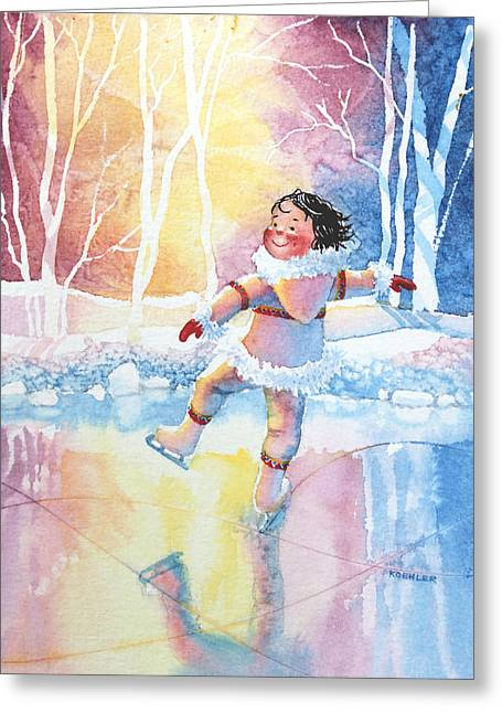 Order Kids Book Illustrations Greeting Cards - Figure Skater 13 Greeting Card by Hanne Lore Koehler