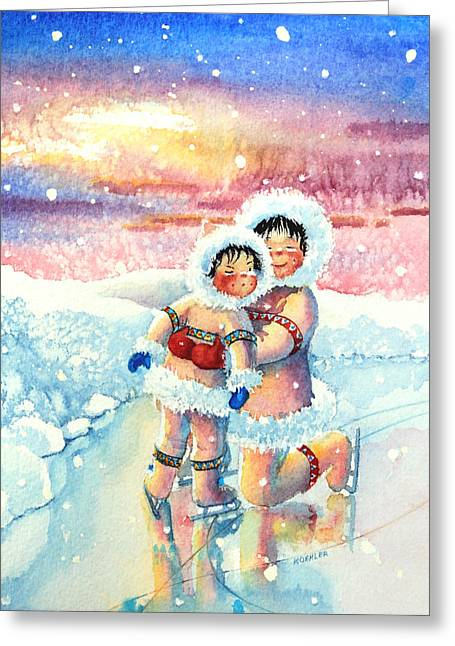 Order Kids Book Illustrations Greeting Cards - Figure Skater 7 Greeting Card by Hanne Lore Koehler
