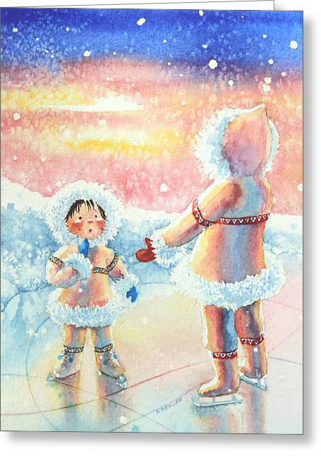 Order Kids Book Illustrations Greeting Cards - Figure Skater 8 Greeting Card by Hanne Lore Koehler