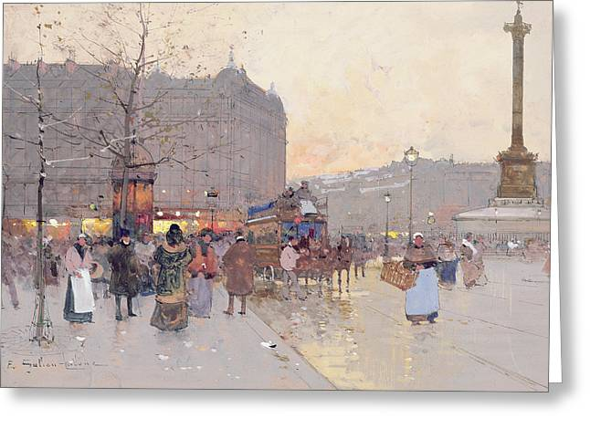 Figures in the Place de la Bastille Greeting Card by Eugene Galien-Laloue