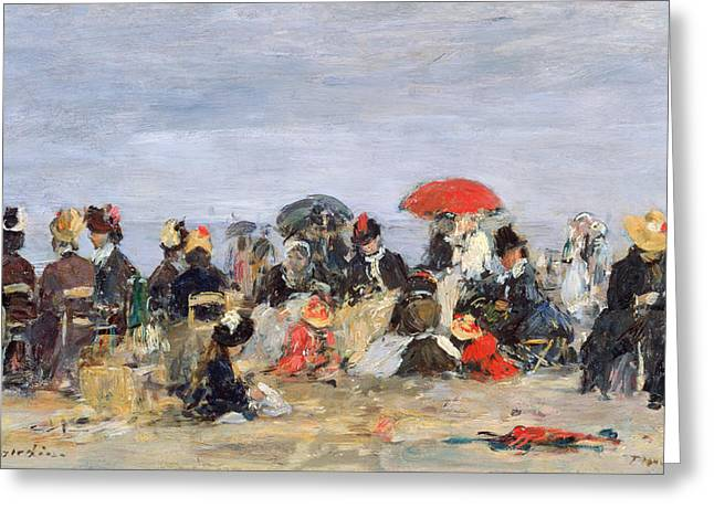 Boudin; Eugene Louis (1824-98) Greeting Cards - Figures on a Beach Greeting Card by Eugene Louis Boudin