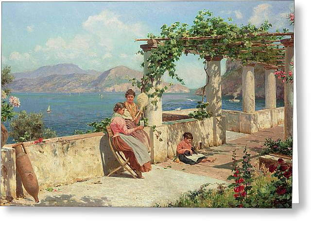 Italian Landscape Paintings Greeting Cards - Figures on a Terrace in Capri  Greeting Card by Robert Alott