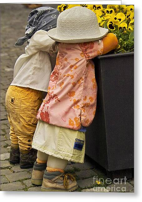 Figurines In Rural Dresses Greeting Card by Heiko Koehrer-Wagner