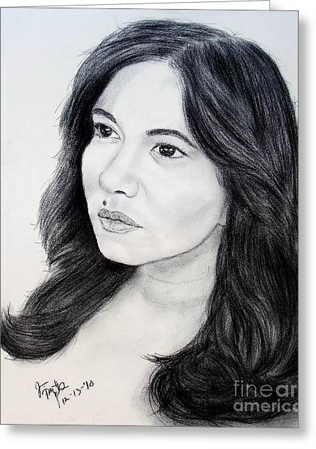 Beauty Mark Greeting Cards - Filipina Beauty and Actress Lorna Tolentino Greeting Card by Jim Fitzpatrick