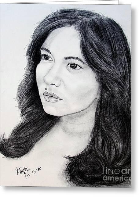 Beauty Mark Drawings Greeting Cards - Filipina Beauty and Actress Lorna Tolentino Greeting Card by Jim Fitzpatrick