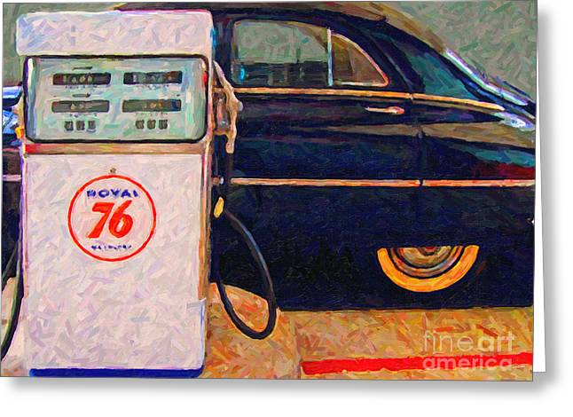 Domestic Cars Greeting Cards - Fill Her Up At The Old Royal 76 Gas Station Greeting Card by Wingsdomain Art and Photography