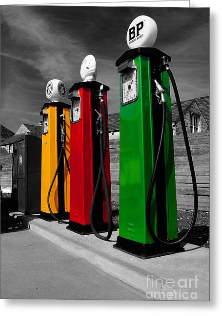 Service Station Greeting Cards - Fill her up Greeting Card by Rob Hawkins