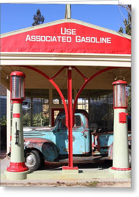 Rusty Old Trucks Greeting Cards - Filling Up The Old Ford Jalopy At The Associated Gasoline Station . Nostalgia . 7D12884 Greeting Card by Wingsdomain Art and Photography