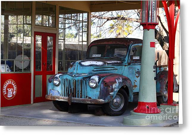 Rusty Old Trucks Greeting Cards - Filling Up The Old Ford Jalopy At The Associated Gasoline Station . Nostalgia . 7D13021 Greeting Card by Wingsdomain Art and Photography