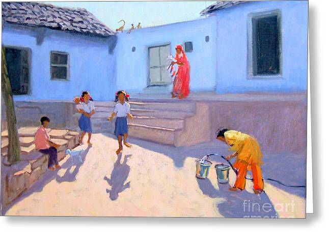 Colorful Indian Greeting Cards - Filling Water Buckets Greeting Card by Andrew Macara