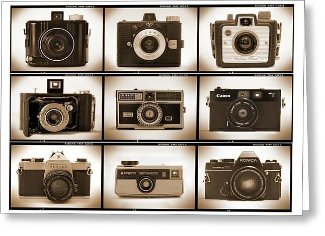 Vintage Camera Greeting Cards - Film Camera Proofs 1 Greeting Card by Mike McGlothlen