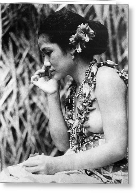 Native American Nude Woman Greeting Cards - Film: Moana, 1926 Greeting Card by Granger