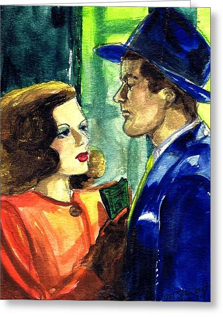 Film Noir Drawings Greeting Cards - Film Noir Greeting Card by Mel Thompson