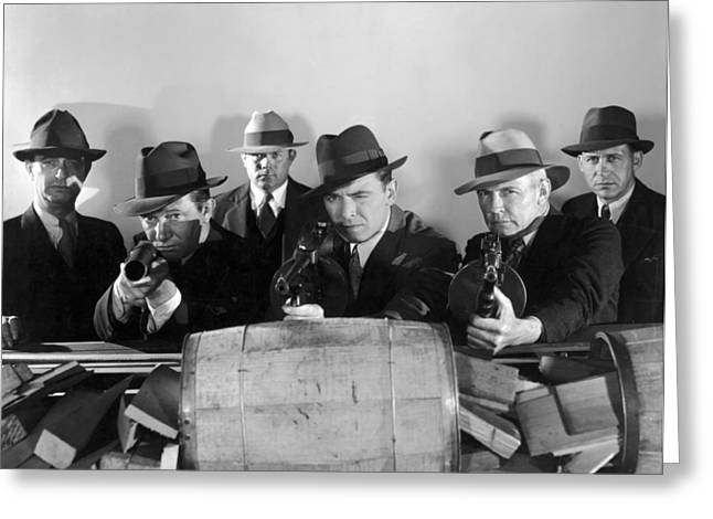 Tommy Gun Greeting Cards - Film Still: Gangsters Greeting Card by Granger