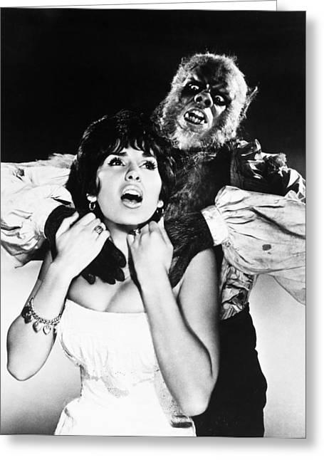 Strangling Greeting Cards - Film Still: Werewolf Greeting Card by Granger