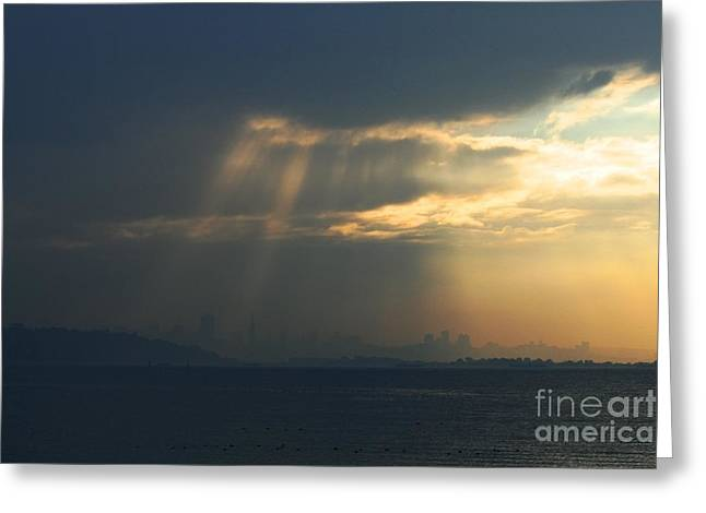 Downtown San Francisco Photographs Greeting Cards - Filtered Light Through San Francisco Skyline Greeting Card by Wingsdomain Art and Photography