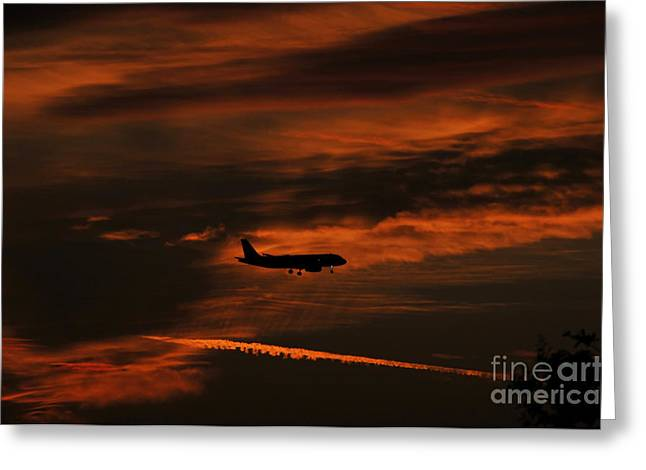 Commercial Aviation Greeting Cards - Final approach Greeting Card by David Lee Thompson