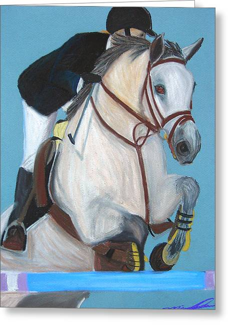 Equestrian Prints Pastels Greeting Cards - Final Jump Greeting Card by Michael Lee